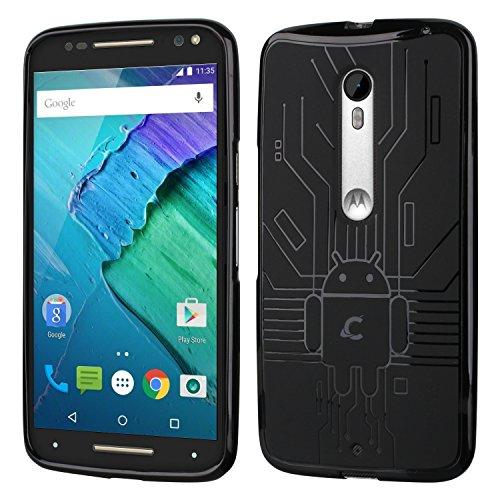 Moto X Pure Case, Cruzerlite Bugdroid Circuit Case Compatible for Motorola Moto X Pure - Retail Packaging - Black