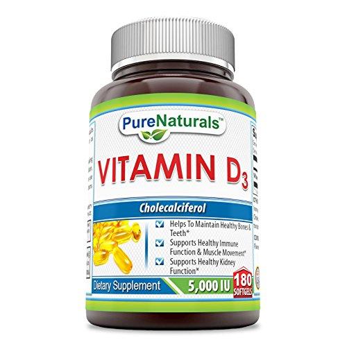 Pure Naturals PN-077 Vitamin D3 5000 IU Softgels, 180 Count