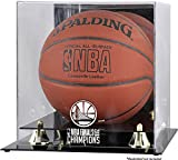 Sports Memorabilia Golden State Warriors 2018 NBA Finals Champions Logo Golden Classic Basketball Display Case with Mirrored Back