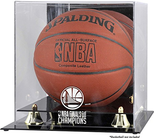 Sports Memorabilia Golden State Warriors 2018 NBA Finals Champions Logo Golden Classic Basketball Display Case with Mirrored Back by Sports Memorabilia