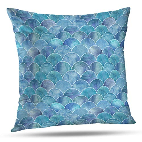 LILYMUA Fish Scale Ocean Wave Japanese Watercolor Blue Teal Turquoise Zippered Pillow Cover,18 x 18 inch Square DecorativePillow Case Fashion Style Cushion Covers(Two Sides Print)