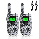 FAYOGOO Kids Walkie Talkies, 22-Channel FRS/GMRS Radio, 4-Mile Range Two Way Radios with Flashlight and LCD Screen.Boys Gifts, Camo Gray
