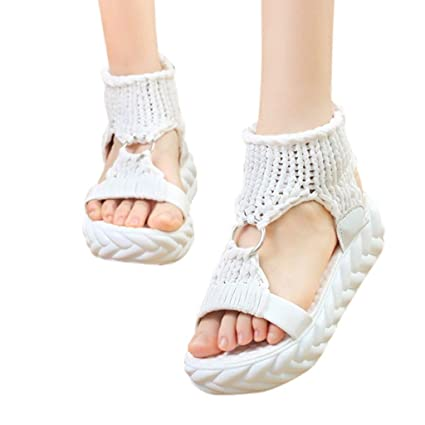 17059ba7a77f9 Sandals For Women Bummyo Women'S Sandals Flat Wedge Sandals Summer Fashion  Platform Sandals Comfortable Large Size Casual Shoes(6.5M US, White)