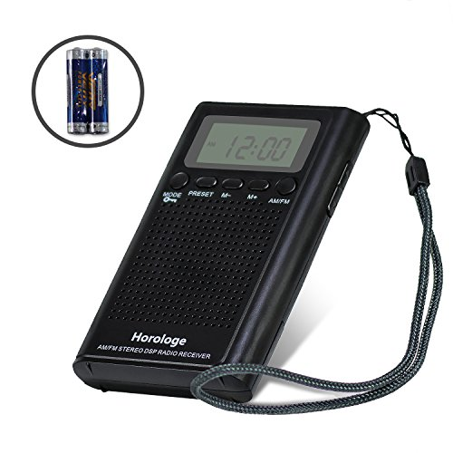 Horologe AM FM Pocket Radio,Portable Digital Radio Alarm Clock with 3.5mm Earphone Jack and Supporting Stereo Mode for Bedroom,Outdoor