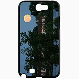 Unique Design Fashion Protective Back Cover For Samsung Galaxy Note 2 Case Buildings Trees Moon Black