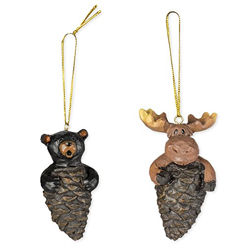 - 2 Piece Set Bear & Moose Pinecone Hanging Ornaments
