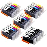 Supricolor 24 Pack PGI-250XL CLI-251XL High Yield Ink Cartridges, Compatible with Pixma MX922 MG6420 MG6620 Printers 24 Pack (4Sets + 4BK)