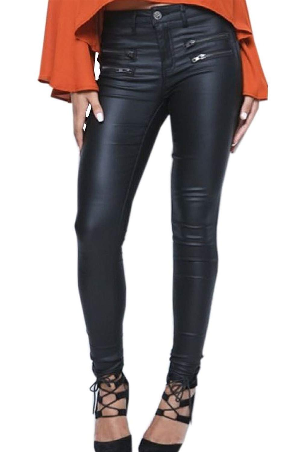 Crazy Women's High Waist Skinny Fit Faux Leather Biker Pants Slim Trousers-34