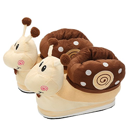 de Adulte Chaussures Escargot Doux Hiver Taille Chaussons 35 Chaud Maison Marron Pantoufles Unisexe Flanelle Animeaux 40EU qTUCxT8w