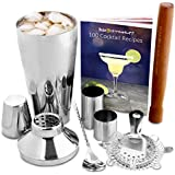 Manhattan Cocktail Shaker Set in Recyclable Box by bar@drinkstuff | Home Cocktail Making Kit with Manhattan Shaker, FREE 224 Page Colour Cocktail Book, Cocktail Strainer, Muddler, Twisted Mixing Spoon, 25ml & 50ml Thimble Bar Measures