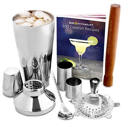 Manhattan Cocktail-Shaker Set in recycelbarer Box von bar@drinkstuff | Kit zum Zubereiten von Cocktails zu Hause mit Manhattan Mixer, GRATIS 224 seitigem farbigem Cocktail-Buch (Englisch), Cocktailsieb, Stößel, gedrehtem Barlöffel, 25ml & 50ml Fingerhut-Barmaß
