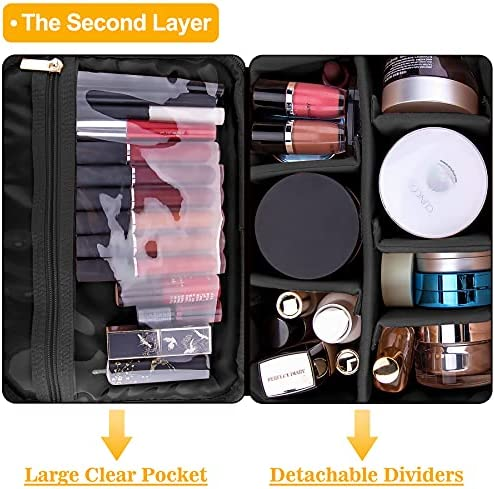 BQTQ Double Layer Travel Makeup Bag Large Cosmetic Bag Organizer Big Capacity Cosmetic Case with Strap and Detachable Dividers Make Up Case for Cosmetics Makeup Brushes and Toiletry Accessories, Black