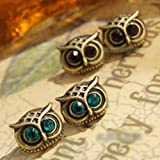 Domire Art Deco Charm Stud Earrings Owl Butterfly