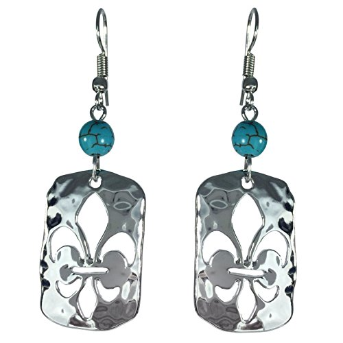 Fleur De Lis Cut Out In Rectangle with Bead Dangle Earrings (Silver Tone Simulated Turquoise) (Wire Turquoise French Oval Earrings)