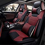 Super PDR 13pcs Bucket seat Covers Anti-Slip Backing PU Leather car seat Covers Cushions 5 Seats Full Set for Most Cars,suvs,Vans Trucks(Wine Red, L)