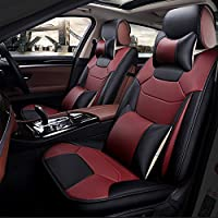 Super PDR 13pcs Bucket seat Covers Anti-Slip Backing PU Leather car seat Covers Cushions 5 Seats Full Set for Most Cars,suvs,Vans Trucks (Wine Red, M)