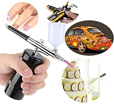 ?Update Version?Ergonomic Airbrush Kit|Steel Portable Rechargeable Handheld Mini Air Compressor Airbrush Set for Makeup Toys Model Tattoo Nail Art Face Paint Cake Decor with 9/20/40CC Cup