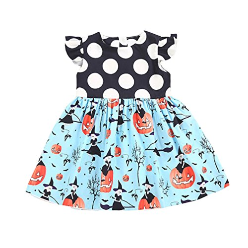 BELS Toddler Kids Baby Girls Halloween Pumpkin Dots Printed Cartoon Blue Dress ()
