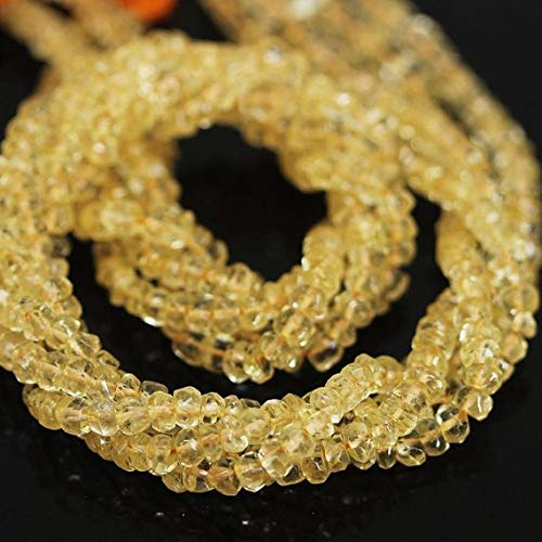 Beads Bazar Natural Beautiful jewellery 5 Strand Lot Gold Citrine Faceted Rondelle Micro Gemstone Craft Loose Beads Strand 13