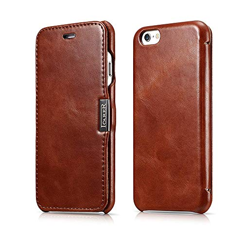 3C-Aone iPhone 6 / 6s Case, [Vintage Series] [Genuine Leather] Folio Flip Corrected Grain Leather Case [Ultra Slim] with Magnetic Closure for iPhone 6 / iPhone 6s 4.7 inch (Brown)