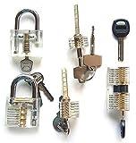 Polysun 5 Pieces Padlock Set Opener Lock Tools Set Training Tools Transparent Cutaway Practice for Beginner
