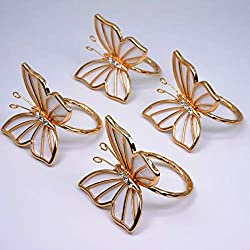 Gold Butterfly Napkin Rings With Rhinestones