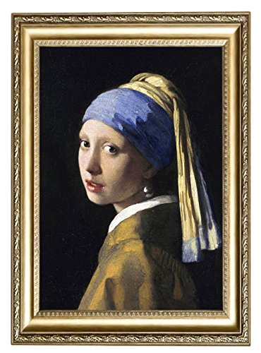 5c8cc246fe9 Amazon.com  Eliteart-Girl with a Pearl Earring By Johannes Vermeer Giclee  Framed Art Canvas Prints-Framed Size 21