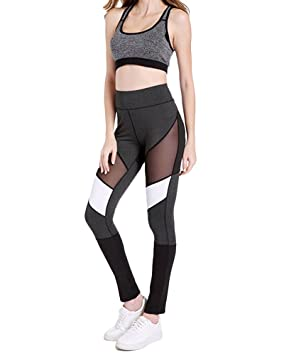 0fc075d902 Yonglan Mujer Leggings Desportivos Alta Cintura Deportes Gimnasio Yoga  Running Fitness Polainas Colores Mezclados Transparente Gasa Pantalones:  Amazon.es: ...