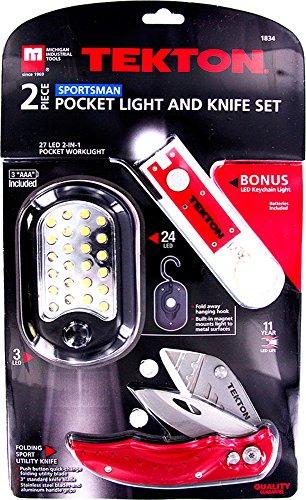 TEKTON 2-Pc. LED Light, Utility Knife W/ Bonus Keychain LED