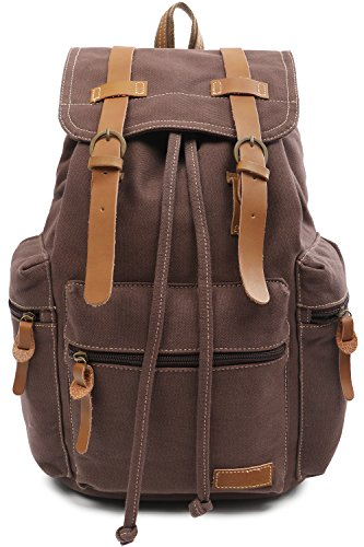 Laptop Outdoor Backpack, Travel Hiking & Camping Rucksack Pack, Casual Large College School Daypack, Shoulder Book Bags Back Fits 15'' Laptop & Tablets FITMYFAVO (Brown) by FITMYFAVO