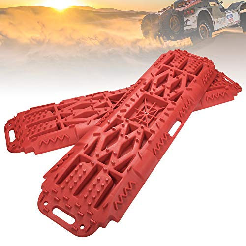 LITEWAY Recovery Traction Tracks with Jack Lift Base- 2 Pcs Traction Mat for Sand Mud Snow Track Tire Ladder 4X4 - Traction Boards