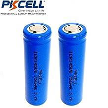 2 Pack 14500 750mAh 3.7V AA size Li-ion Rechargeable Flat Top Batteries