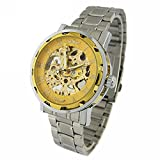 YouYouPifa Skeleton Dial Stainless Steel Strap Hand-Wind Mechanical Men's Watch (Gold)