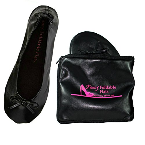 Fancy Shoe Land Foldable Ballet Flats Expandable Tote Bag for High Heels Black Travel Fold up or Folding Shoes