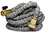 Titan Expanding Garden Water Hose Premium Leak-Resistant Solid Metal Connectors Super Strong Double Layer Latex Core Extra Strength Fabric 3/4 USA Standard Expandable Flexible Water Hose