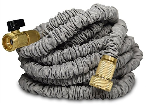75 Foot Expandable Garden Water Hose by Titan IMPROVED Leak Resistant Solid Brass Connectors Heavy Duty Double Latex Core Design Expanding Retractable Flexible and Lightweight For Home Use