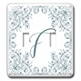 3dRose Uta Naumann Personal Monogram Initials - Letter F Personal Luxury Vintage Glitter Monogram-Personalized Initial - Light Switch Covers - double toggle switch (lsp_275305_2)