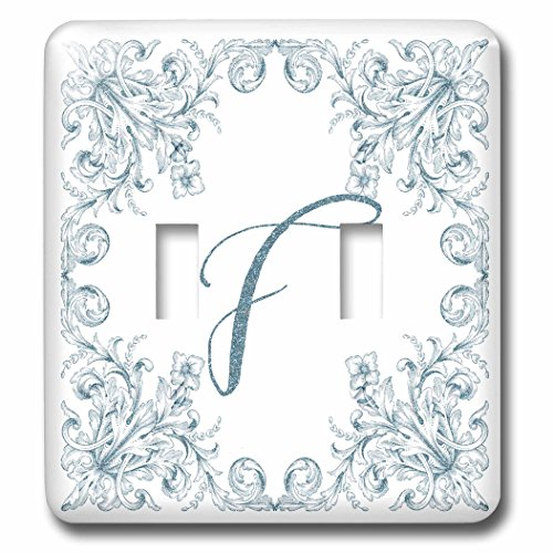3dRose Uta Naumann Personal Monogram Initials - Letter F Personal Luxury Vintage Glitter Monogram-Personalized Initial - Light Switch Covers - double toggle switch (lsp_275305_2) by 3dRose