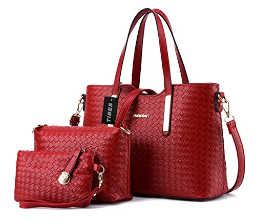 Tibes Fashion Pu Leather Handbag+Shoulder Bag+Purse 3pcs Bag Wine Red (Cheap Designer Bags)