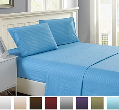 4 Piece: Lux Decor Collection Full Bed Sheet Set - HIGHEST Egyptian QUALITY Microfiber 1800 Series Bedding -Wrinkle, Fade, Stain Resistant - Hypoallergenic - Bed Sheets set (Full, Blue) (Discount Bed Sheet Sets)