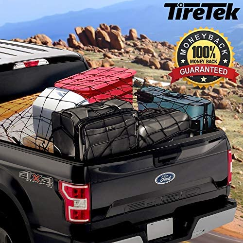 """TireTek Cargo Net for Pickup Truck Bed- 4' x 6' Stretches to eight' x 12'- Heavy Duty Small 4""""x4"""" Latex Bungee Net Mesh with 12 Metal Carabiners - Compatible with Ford, Dodge RAM, Chevy, Toyota"""