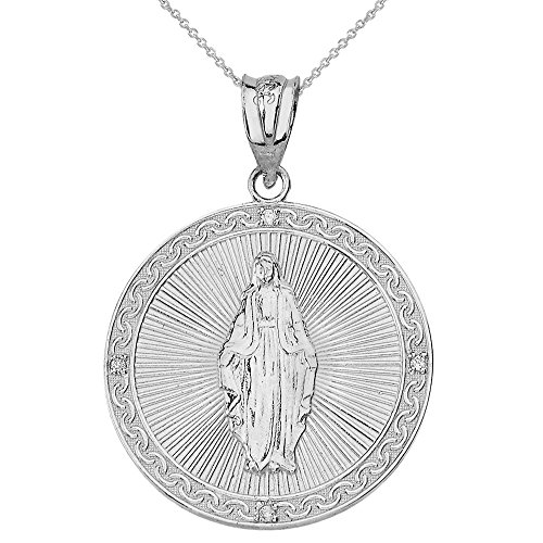 Sterling Silver Blessed Virgin Mary Miraculous Round CZ Medal Necklace (Large), 18