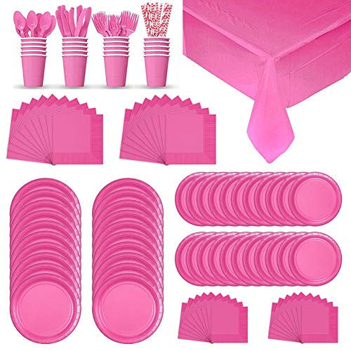 Pink Coloured Plate - Pink Colored Disposable Paper Dinnerware Full Party Supplies Pack for 20 Guests | Straws, Party Plates, Party Napkins, Table Covers, Cups, and Cutlery (Spoons, Forks, Knives) | Plastic Dinnerware Set