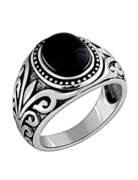 MetJakt Natural Agate/Garnet Ring Ancient Cane Pattern Solid 925 Sterling Silver Ring Men Vintage Thai Silver Jewelry