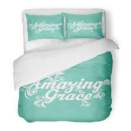 SanChic Duvet Cover Set Quote Amazing Grace God Jesus Cross Hope Love Decorative Bedding Set 2 Pillow Shams King Size by SanChic