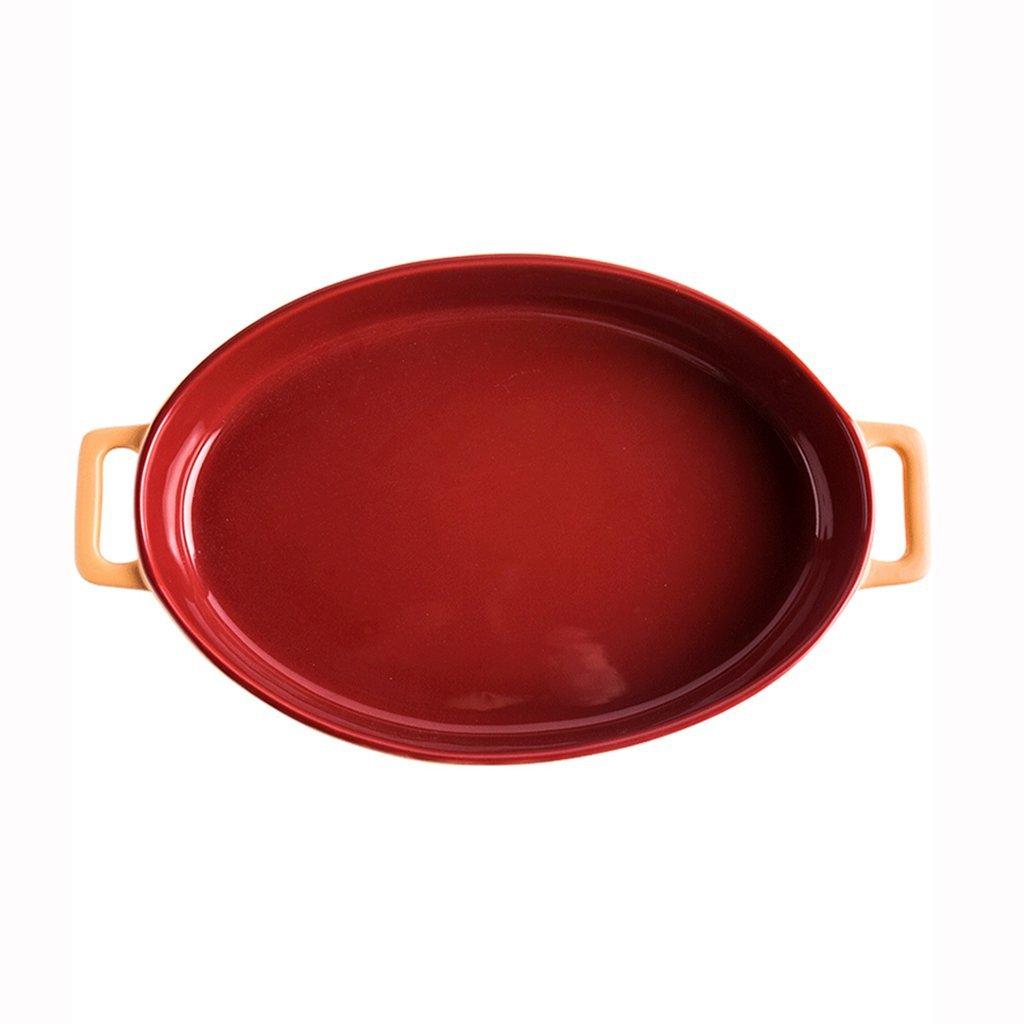 He Xiang Ya Shop Oven Universal High Temperature Baking Dish Red Ceramic Binaural Bakeware Oval Shaped Grilled Steak Dish