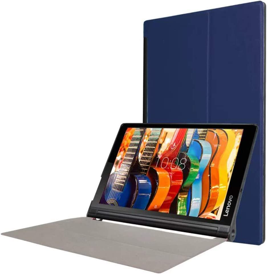 for Lenovo Yoga Tab 3 Plus/Yoga Tab 3 Pro 10 Case, Ultra Slim Lightweight Folio Stand Leather Cover for Lenovo Yoga Tab 3 Plus YT3-X703F/H/L/Yoga Tab3 Pro YT3-X90F/M/L 10.1 Inch Tablet (Dark Blue)