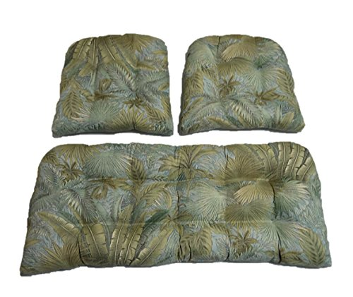 3 Piece Wicker Cushion Set - Tommy Bahama Tropical Palm Leaf Bahamian Breeze Surf - Green, Blue, Tan Indoor / Outdoor Fabric Cushion for Wicker Loveseat Settee & 2 Matching Chair Cushions