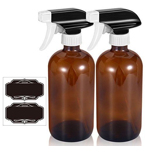 Olilia 16 oz Amber Glass Spray Bottles 2 Pack, with Mist and Stream Setting Sprayer Top, Chalkboard Labels