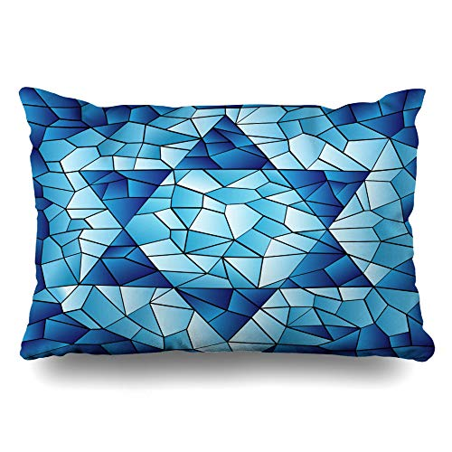 (Ahawoso Throw Pillow Cover King 20x36 Blue Hanukkah Six Pointed Star Stained Chanukah Jewish David Passover Glass Window Pattern Design Zippered Cushion Pillow Case Home Decor Pillowcase)